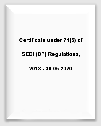 Certificate under 74(5) of SEBI (DP) Regulations, 2018 - 30.06.2020