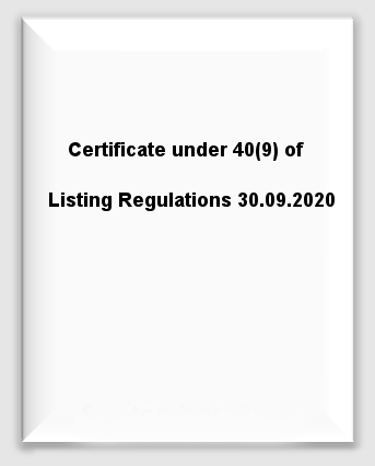 Certificate under 40(9) of Listing Regulations 30.09.2020