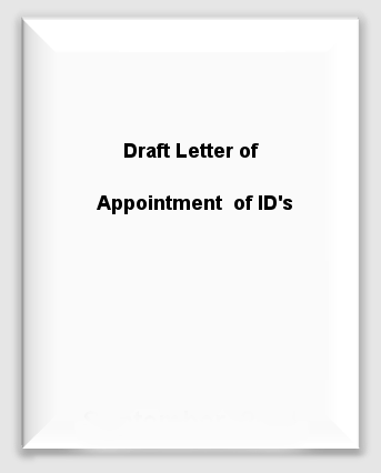 Draft Letter of Appointment of IDs