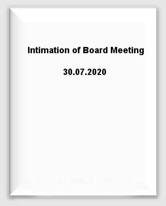 Intimation of Board Meeting 30.07.2020