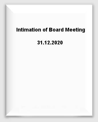 Intimation of Board Meeting 31.12.2020