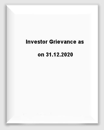 Investor Grievance as on 31.12.2020