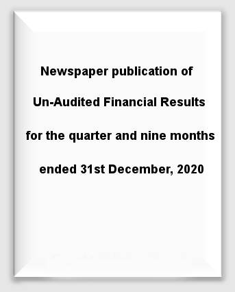 Newspaper publication of Un-Audited Financial Results for the quarter and nine months ended 31stDecember, 2020