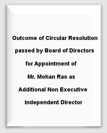 Outcome of Circular Resolution Mohan Rao