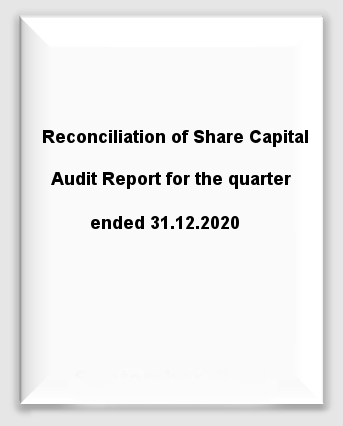 Reconciliation of Share Capital Audit Report for the quarter ended 31st December, 2020