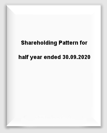 Shareholding Pattern for half year ended 30.09.2020