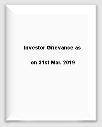 Quaterly - Investor Grievance 31st Mar 2019